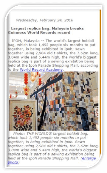 largest bag epal world record guiness frame